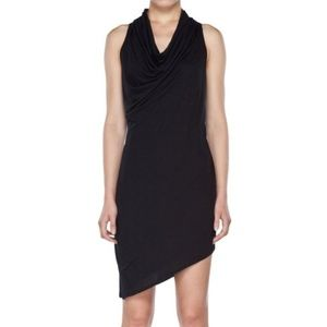L Helmut Lang Asymmetrical Black Racerback Dress